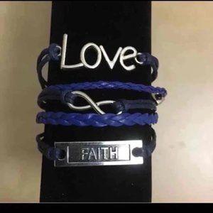 3/$15 Faith love infinity blue bracelet NWOT